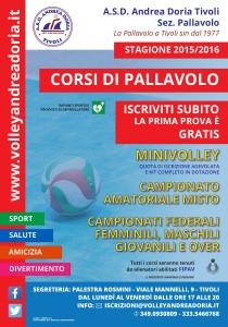 Iscrizioni Andrea Doria Pallavolo Tivoli 2015-2016