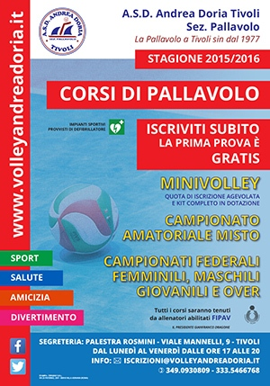 Vieni a provare la Pallavolo e Iscriviti ai corsi dell'ASD Andrea Doria Tivoli sez. Pallavolo