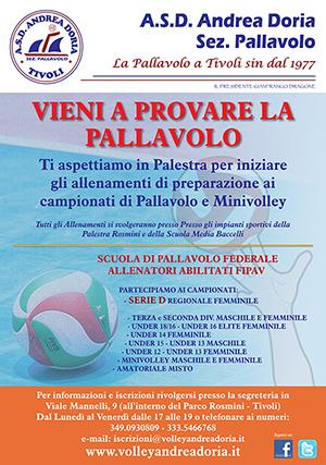 Vieni a provare la Pallavolo e Iscriviti all'ASD Andrea Doria Tivoli sez. Pallavolo